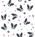 pattern with french bulldog and canine tracks vector image vector image