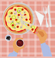 person is eating pizza vector image vector image