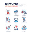 photographer services - line design icons set vector image vector image