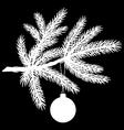 pine tree branch with christmas ball vector image vector image