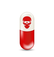 Red capsule with skull isolated on white vector image vector image