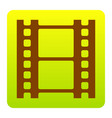 reel of film sign brown icon at green vector image vector image