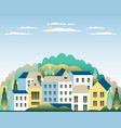 rural valley farm countryside village landscape vector image