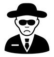 sad spy black icon vector image
