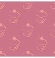 Seamless violet pattern or tile cupcake background vector image