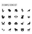set of 20 editable animal icons includes symbols vector image vector image