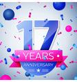 Seventeen years anniversary celebration on grey vector image vector image