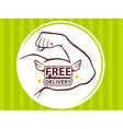 strong man hand with icon of free delive vector image vector image