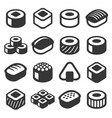 sushi icons set on white background vector image