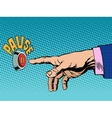The pause button hand press vector image vector image