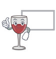 thumbs up with board wine character cartoon style vector image vector image