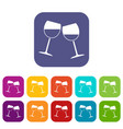 two wine glasses icons set flat vector image vector image