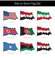 war on terror waving flag set vector image vector image