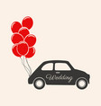 wedding car decorations with balloons icon vector image