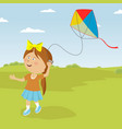 cute little girl playing with kite outdoor vector image