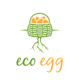 eco eggs in basket with root vector image