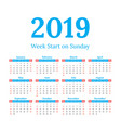 2019 calendar start on sunday vector image vector image