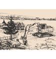 Agriculture rural village Landscape vector image vector image
