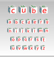 Alphabet on a cubes isolated on background stock