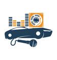 audio car system mic volume disk logo template vector image