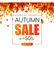 autumn 50 sale promo poster with golden leaves vector image vector image