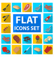 barbecue and equipment flat icons in set vector image