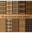 Brown plaid pattern vector image