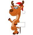 cartoon deer hold blank sign vector image