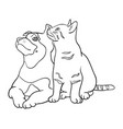 cat and dog line art 4 vector image