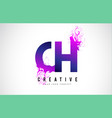 ch c h purple letter logo design with liquid vector image vector image
