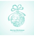 Christmas card with blue ball and text vector image