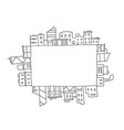 city panorama drawing in rectangular square area vector image