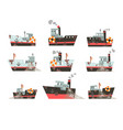 collection of fishing vessels trawlers for vector image vector image
