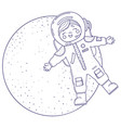 cute girl for coloring book girl in astronaut vector image