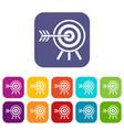 darts icons set vector image vector image