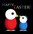 easter greeting - two colored chicken eggs text vector image vector image