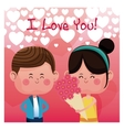 girl flowers boy love you rain heart background vector image vector image
