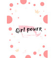 girl power lettering card vector image