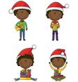 Happy African-American Santa boys vector image vector image