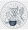 Icon pets sitting cat dog vector image