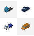 isometric car set of lorry truck autobus and vector image