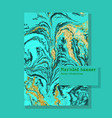 marbled green and blue abstract background liquid vector image