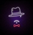 neon sign of men in a hat bright emblem vector image