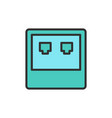 Network input flat color line icon