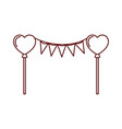 party garland with hearts balloons isolated icon vector image vector image