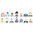 people avatar face icons set stylized portraites vector image