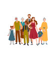 portrait large family mother father children vector image vector image