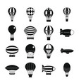 retro balloons aircraft icons set simple style vector image vector image