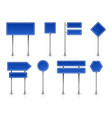 road icons realistic blue street signposts with vector image