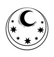 round frame with star and moon vector image